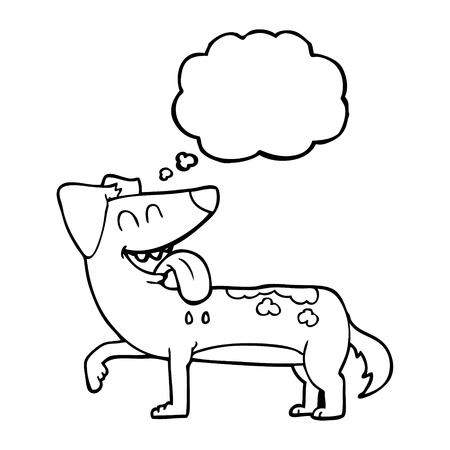 panting: freehand drawn thought bubble cartoon panting dog