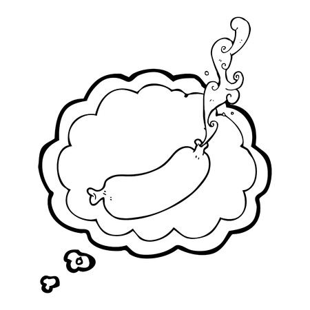 meat food: freehand drawn thought bubble cartoon squirting sausage