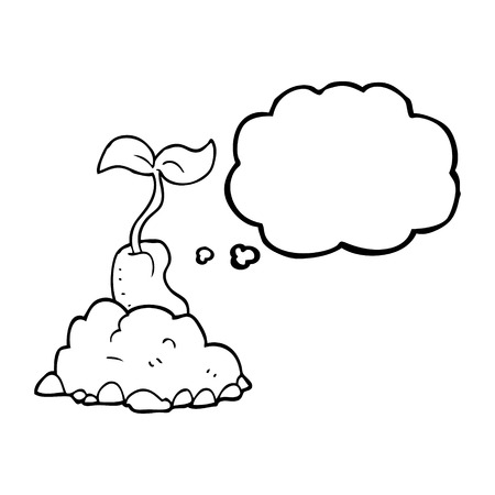 germinating: freehand drawn thought bubble cartoon sprouting seed Illustration