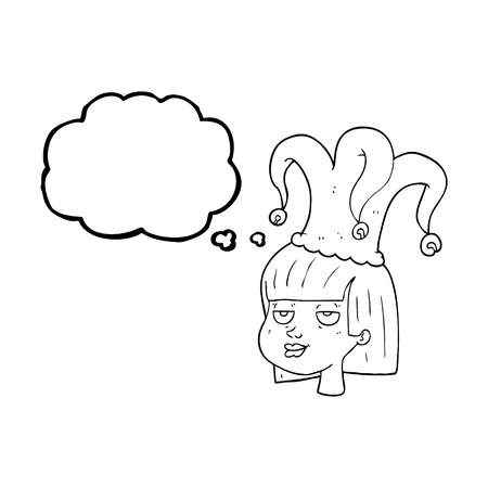 stoned: freehand drawn thought bubble cartoon female face with jester hat