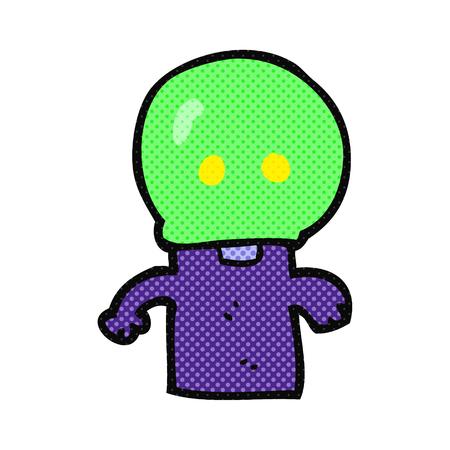 alien clipart: freehand drawn cartoon little alien