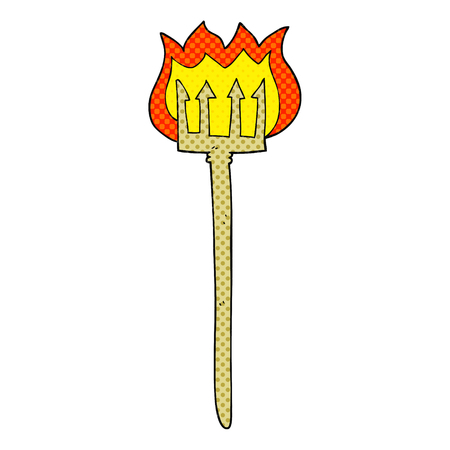 flaming: freehand drawn cartoon flaming devil fork