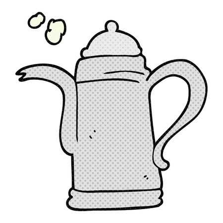 a mano libera dei cartoni animati disegnati caffè bollitore
