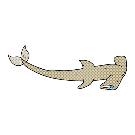 hammerhead: freehand drawn cartoon hammerhead shark