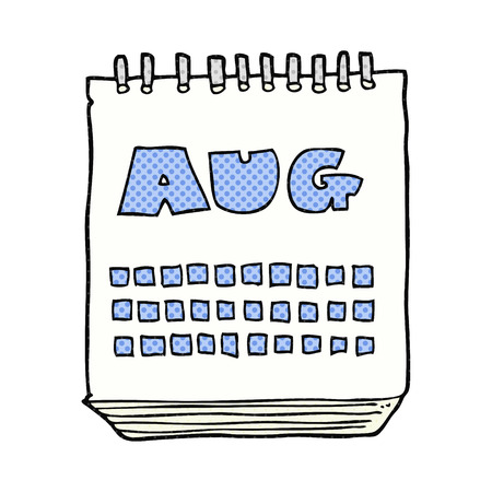 august: freehand drawn cartoon calendar showing month of august