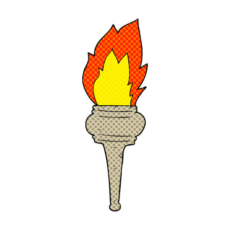 flaming torch: freehand drawn cartoon flaming torch Illustration