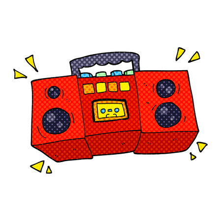 tape player: freehand drawn cartoon cassette tape player