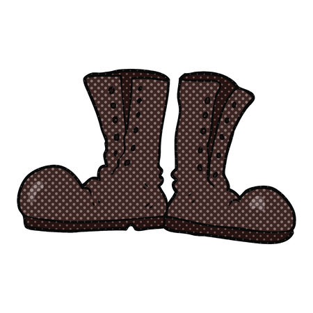 army boots: freehand drawn cartoon shiny army boots Illustration