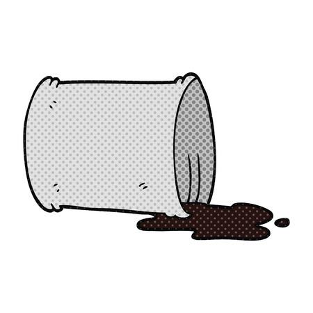 spilled: freehand drawn cartoon spilled oil drum