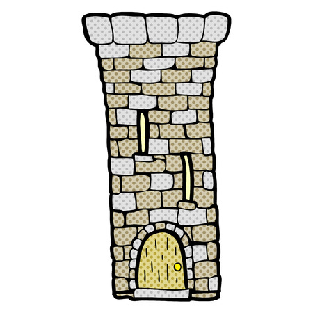 fort: freehand drawn cartoon old castle tower