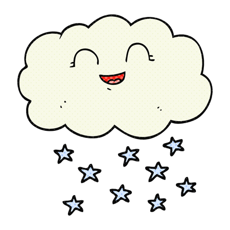 snowing: freehand drawn cartoon cloud snowing