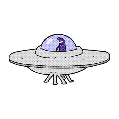 saucer: freehand drawn cartoon flying saucer Illustration