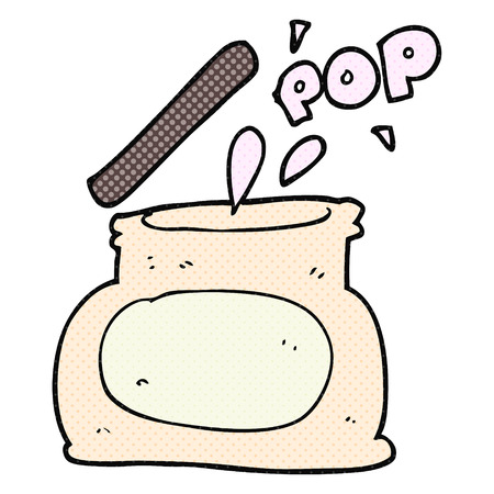 popping: freehand drawn cartoon popping jar Illustration