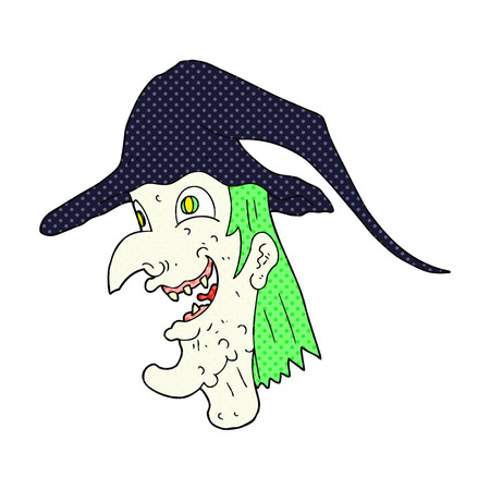 cackling: freehand drawn cartoon cackling witch Illustration