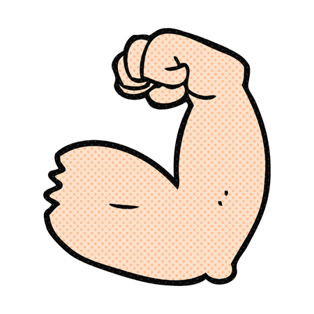 bicep: freehand drawn cartoon strong arm flexing bicep