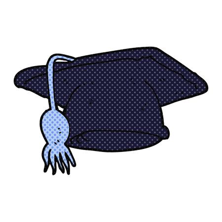graduacion caricatura: casquillo de la graduaci�n a mano alzada dibujo animado hecho