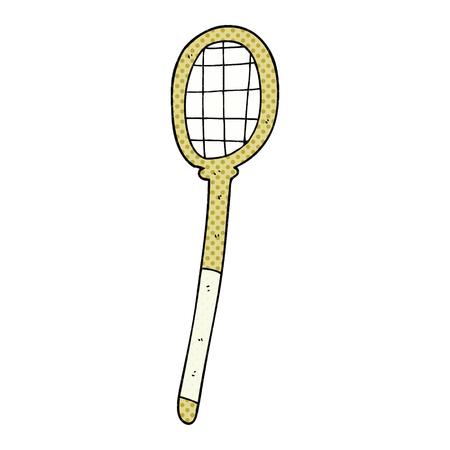 vintage art: freehand drawn cartoon tennis racket