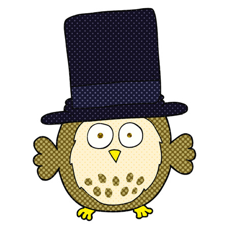 top hat cartoon: freehand drawn cartoon owl wearing top hat
