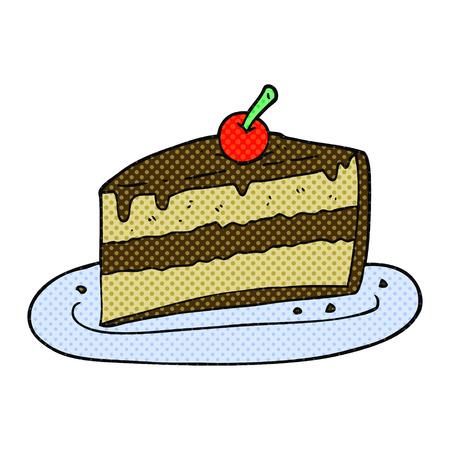 slice of cake: freehand drawn cartoon slice of cake