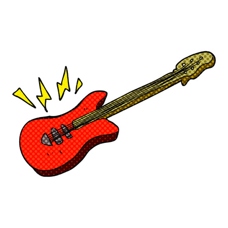 free clip art: freehand drawn cartoon electric guitar
