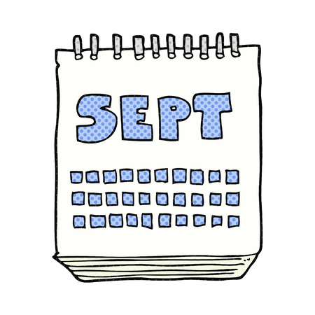 september: freehand drawn cartoon calendar showing month of September
