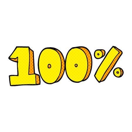 per cent: freehand drawn cartoon 100 per cent symbol