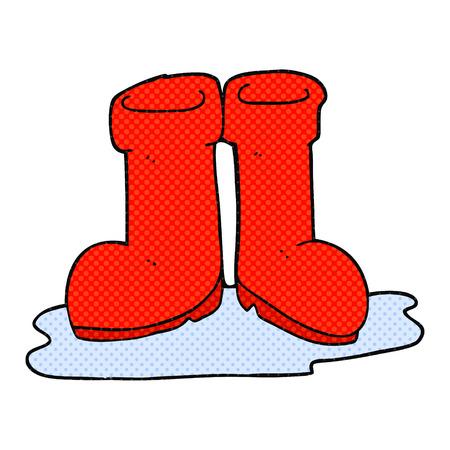 wellington: freehand drawn cartoon wellington boots in puddle Illustration