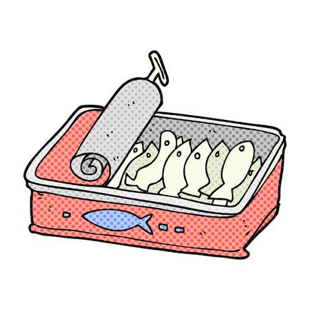 sardines: freehand drawn cartoon can of sardines