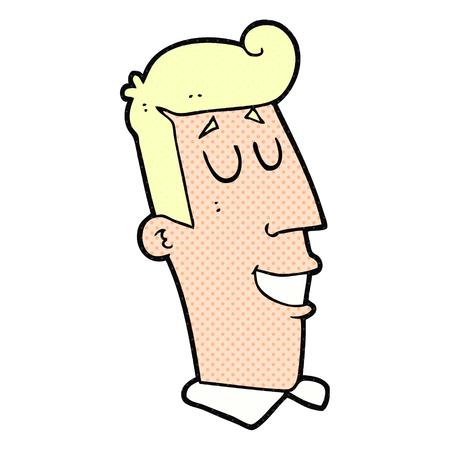 grinning: freehand drawn cartoon grinning man Illustration