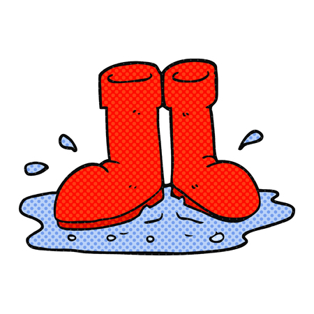 puddle: freehand drawn cartoon wellington boots in puddle Illustration
