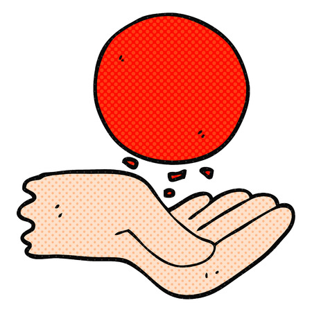 throwing: freehand drawn cartoon hand throwing ball