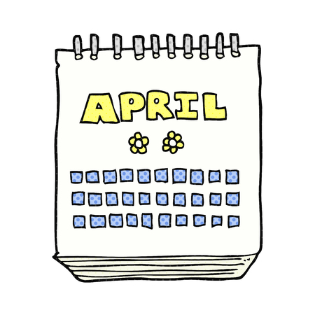april clipart: freehand drawn cartoon calendar showing month of April Illustration