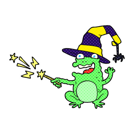 casting: freehand drawn cartoon toad casting spell