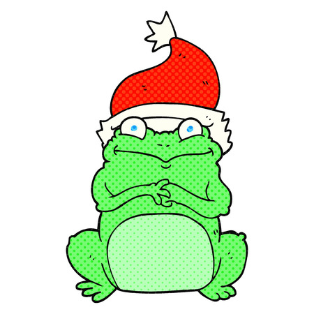 christmas frog: freehand drawn cartoon frog wearing christmas hat