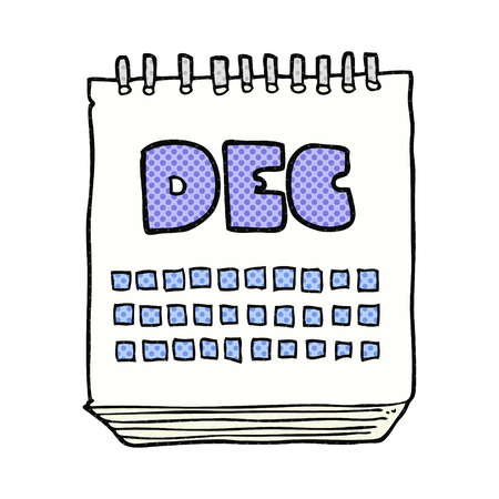 in december: freehand drawn cartoon calendar showing month of december Illustration