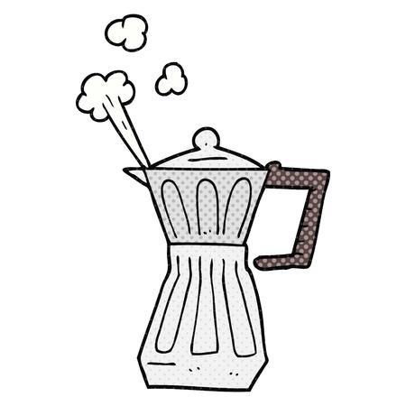 stovetop: freehand drawn cartoon espresso stovetop maker Illustration