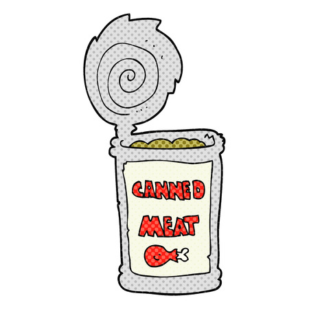 tinned: freehand drawn cartoon canned meat Illustration