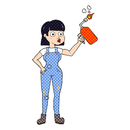 capable: freehand drawn cartoon woman in dungarees Illustration