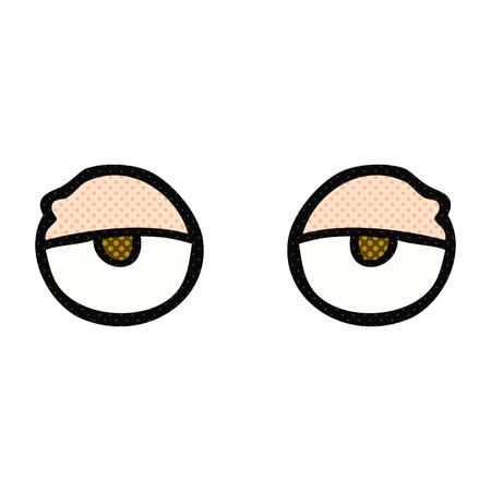 tired eyes: freehand drawn cartoon tired eyes Illustration