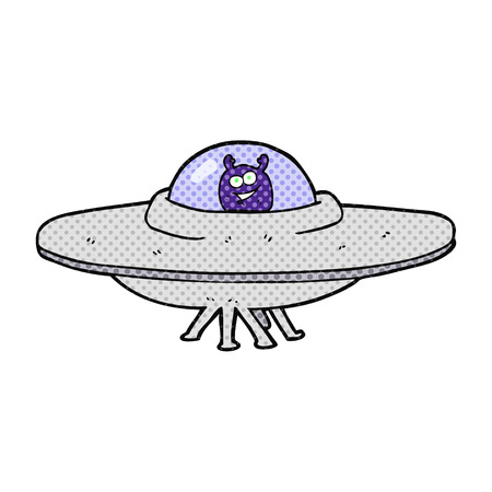 flying saucer: freehand drawn cartoon flying saucer Illustration