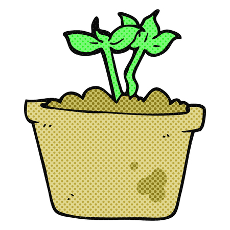 sprouting: freehand drawn cartoon sprouting plant