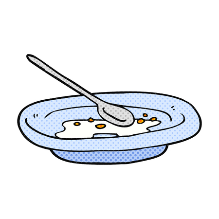 cereal bowl: freehand drawn cartoon empty cereal bowl