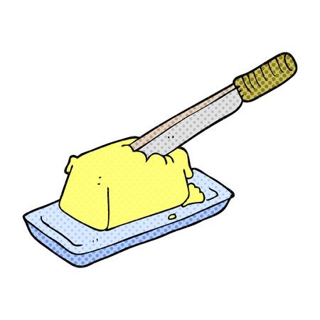 butter knife: freehand drawn cartoon knife in butter