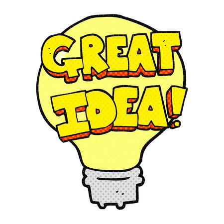 great idea: freehand drawn cartoon great idea light bulb symbol Illustration