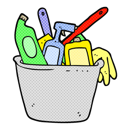cleaning products: cleaning products freehand drawn cartoon