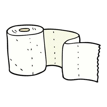 loo: freehand drawn cartoon toilet roll Illustration