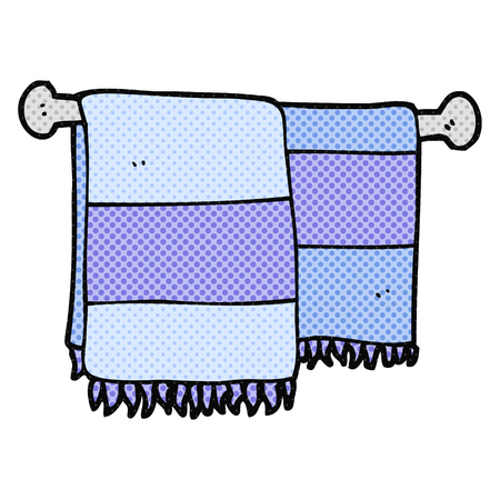 hand art: freehand drawn cartoon bathroom towels