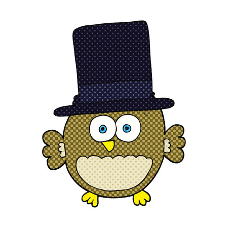 top hat: freehand drawn cartoon owl in top hat Illustration