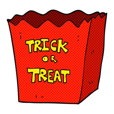 trick or treat: freehand drawn cartoon trick or treat bag Illustration
