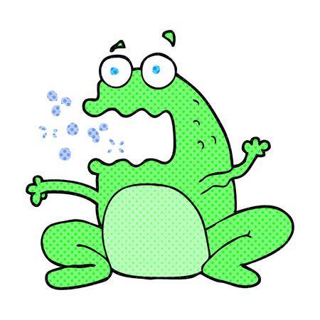 burping: freehand drawn cartoon burping frog